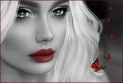 RedLips (NefrytkaResident) Tags: nefrytka buterfly butterflies women girl catwa bento black white bw blackwhite face portrait monochrome closeup sl secondlife redlips firestrom