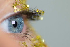 Sparkle (V Photography and Art) Tags: eye eyeclose macro sparkle glitter dof bokeh blueeye blue gold iris lashes eyelashes focus blur detail