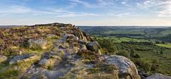 Baslow edge (Keartona) Tags: baslowedge curbar derbyshire peakdistrict england gritstone edge rocks heather panorama landscape view scenery evening summer path footpath walk uk