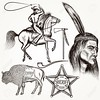 Cowboy vector set west cowboy, Indian and sheriff star (regulalewis) Tags: cowboy men wild west western america north horse gun shouting saloon attributes retro vintage history symbol element illustration decorative vector drawn engraved indian leader feathers hunting mustang hat lasso sheriff texas star set collection kit classic ethnic