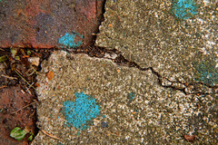 Cracked concrete (jimj0will) Tags: concrete cracks cracked splashed splashes paint blue weeds minimalist textures lichen brick abstract texture
