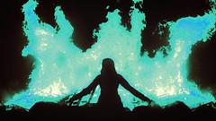 Burn, Baby, Burn (Captain Nots) Tags: flames fire bonfire summer witchcraft witch night blue blueflame catharsis release bridges burnedbridges silhouette portrait burn burning emotions feelings emotion toxic poison