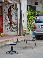 Saving a Parking Space (mikecogh) Tags: malacca melaka chairs street parkingspace saving custom park publicart mural creature