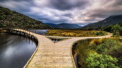 Fork in the road (Chas56) Tags: tidalriver wilsonspromontory wilsonsprom victoria australia ngc landscape canon canon5dmkiii boardwalk bridge river mountain valley trees vegatation vista clouds sky ndfilter longexposure panorama