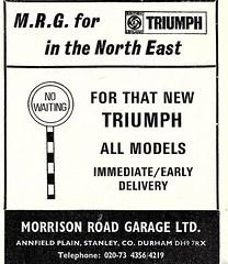 1973 ADVERT - MORRISON ROAD GARAGE / MRG TRIUMPH DEALERS STANLEY COUNTY DURHAM (Midlands Vehicle Photographer.) Tags: 1973 advert morrison road garage mrg triumph dealers stanley county durham