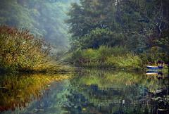 Blind Brook on a foggy morning (Cordia Loretta) Tags: sea water longislandsound boat calmserene close seagrass dock connecticut