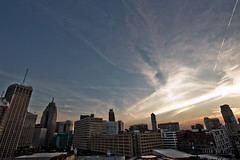 Downtown Detroit (Tyler Mulville) Tags: detroit michigan general motors gm canon 6d 1740mm wide cityscape horizon sky clouds sunset downtown
