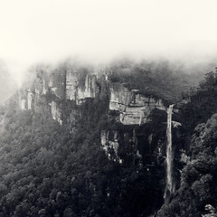 View from Govetts Leap (Colin_Bates) Tags: waterfall goveets leap grose valley blue mountains blackheath windy rainy foggy winters day