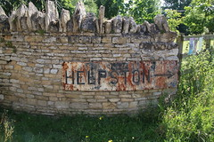 Pre-Warboys road sign for Helpston, Aislworth, Cambs. (kitmasterbloke) Tags: helpston aislworth sign road transport cambridgeshire enamel rusty outdoor