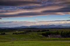 Moose Mountain, Mount Glasgow and Banded peak: the Rockies from Calgary (John Andersen (JPAndersen images)) Tags: alberta calgary clouds foothills highway jumpingpound luminar panorama range rockies sunset yyc