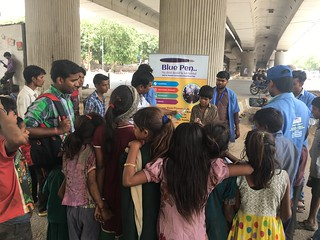 Team Blue Pen teaching importance and methods of Personal Hygiene to Nehru Place Flyover kids on 18.6.17 (1230-130PM)