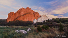 Kissing Behind the Rocks_MG_0795 (Alfred J. Lockwood Photography) Tags: alfredjlockwood nature landscape gardenofthegods kissingcamels rockformation sandstone clouds sky colorado spring twilight dawn morning whiterock northgatewayrock