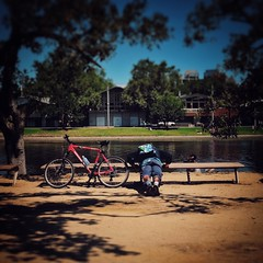 Melbourne 2016/7-7 (michelle-robinson.com) Tags: urban everyday xt10 realpeople street australia streetphotography photography adelaide 4tografie cityliving melbourne michellerobinson dailylife candid people streetlife city fitness snapseed man workingout outdoors vsco lifestyle bicycle random activity