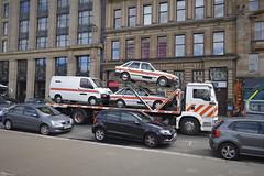 Film cars (Dave S Campbell) Tags: meg863p volvo escort ford police film location glasgow classic car city centre scotland street spotted american vauxhall nova