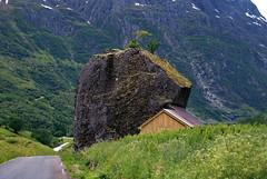 I ly bak en stein -|- Shelter behind a rock (erlingsi) Tags: shelter rock stone breim nordfjord norway giant shed gras road tilpasset adjustedshed indrebø førde