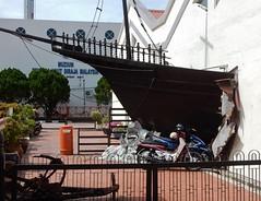 Pushy Ship (mikecogh) Tags: malacca aggressive assertive pushy bow ship wooden broken wall jib humour hunor melaka