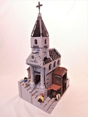 The Narrow Chapel (Dan The Imposter) Tags: narrow chapel church stairs building leather tanners tan spire windows columns brick lego yourface