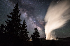 Old Faithful erupts under a clear summer sky (YellowstoneNPS) Tags: jacobwfrank milkyway oldfaithful uppergeyserbasin yellowstone yellowstonenationalpark longexposure night silhouette steam trees