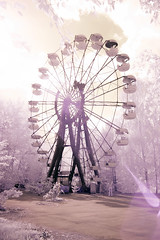 Nuclear playground, Propyat (Sean Hartwell Photography) Tags: pripyat chernobyl exclusionzone ukraine ir infrared nuclear accident disaster radiation radioactive fallout ferriswheel fair fairground funfair sun flare atomic otherworldly dream