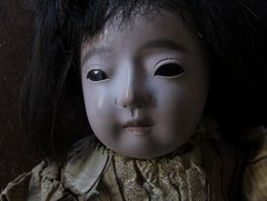 SCRAGGLY_gofun ichimatsu (Fuji Toy?)_1929 (leaf whispers) Tags: miniature portrait painting victorian georgian gofun doll ichimatsu scary ningyo japan japanese bisque vintage antique creepy freaky horror weird crazy sinister unique original art poupee ancienne blackeyes madeinjapan realhair humanhair vintagedoll kawaii goth gothdoll chiaroscuro darkdoll possesseddoll spiritdoll haunteddoll ghostdoll ghostly olddoll old toy antiquetoy vintagetoy fondnoir obon ghost kimono bighead bigeyes blackbackground witch witchdoll soundbox squeekerbox fuji papiermache papermache paperwrappedtorso crybox cry box maker artist light retro traditional porcelain hina obsolete