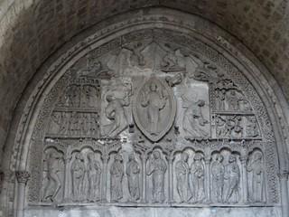 Tympan du portail roman (XIIe), cathédrale Saint Etienne (XIe-XIe), Cahors, Lot, Occitanie, France.