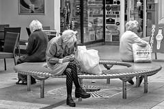 Who was on the circular bench 14th July 2017 (sasastro) Tags: streetphotography street candid mono people circular bench sudbury suffolkuk pentaxk5iis smcpentaxda18135mm