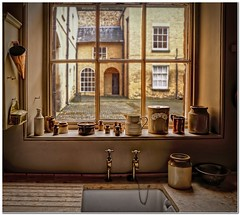 The maid's view (Hugh Stanton) Tags: window courtyard view sink sill kitchen utensils appicoftheweek