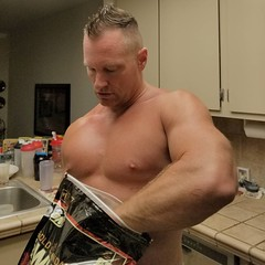 Protein (ddman_70) Tags: shirtless pecs muscle protein kitchen
