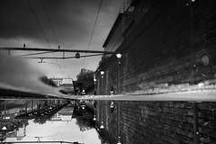 Bahnhof Wiedikon (maekke) Tags: zürich switzerland wiedikon 2017 bw noiretblanc reflection puddlegram pointofview pov publictransport sbb woman fujifilm x100t streetphotography