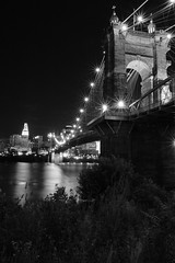 Roebling Suspension Bridge B&W (MarcusDC) Tags: roeblingbridge ohioriver kentucky night blackandwhite explore153june112017