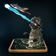 Radioactive Monster Bemular (Will Vale) Tags: atomicmonster bandai sculpting scifi scalemodel ultraman sculpey bust sciencepatrol kaiju vtol bemular technicolor