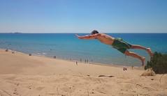 Greek summer start (KOSTAS PILOT) Tags: greece peloponese achaia kalogriabeach beach coast summertime summer sea action mediterranean ionion sky sony sonyz2 xperia kostaspilot horizon dune sand ελλάδα strofiliasforest πελοπόννησοσ αμμοσ αμμολοφοσ παραλιακαλόγριασ παραλια ιονιον μεσογειοσ θάλασσα ουρανόσ καλοκαίρι οριζοντασ greeksummer jump