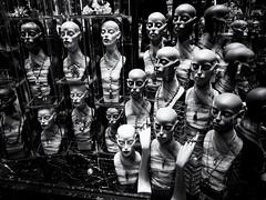 Many Heads are Better than One (Feldore) Tags: hongkong mannequin heads many shop window dummies hong kong mall shopping spooky odd jewellery display feldore mchugh em1 olympus 1240mm bald