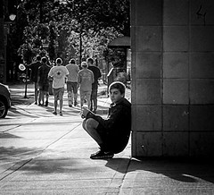 Left Behind (daveson47) Tags: candid mono blury bw blackandwhite blackwhite street streetphoto fuji fujix100s x100s