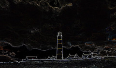 St John's Lighthouse (conall..) Tags: st john's lighthouse countydown killough stjohnspoint manipulated manipulatedimage photoshop elements 15 messing abstract weird glowing edges glowingedges
