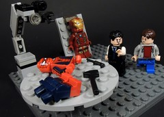 I'm working on your suit (MrKjito) Tags: lego minifig super hero comics comic spiderman iron man tony stark lab work place suit wip bench marvel homecoming civil war captain america cinematic universe