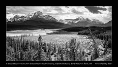 The North Saskatchewan River with Mt. Epaulette (L), Kaufmann Peaks, Mt. Sarbach, Howse Pass, Mt. Outram, Mt. Forbes, Messines Mountain and Mons Peak (R) from Saskatchewan River Crossing Viewpoint, Icefields Parkway, Banff National Park (kgogrady) Tags: banffnationalpark howsepass icefieldsparkway kaufmannpeaks landscape messinesmountain monspeak mtepaulette mtforbes mtoutram mtsarbach northsaskatchewanriver saskatchewanrivercrossing spring alberta canada acros 2017 albertariver blackandwhite blackwhite fujifilmxt2 albertalandscapes bw fujinon fujifilm parkscanada westerncanada xf18135mmf3556oiswr trees xt2 canadianlandscapes canadianrockies canadianmountains canadianrockieslanscape canadiannationalparks mountains nopeople noone