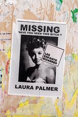 MISSING Laura Palmer (dprezat) Tags: twinpeaks laurapalmer lynch paris street art graf tag pochoir stencil peinture aerosol bombe painting urban nikond800 nikon d800