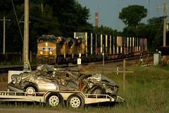 A Friendly Reminder (Jeff Carlson_82) Tags: up 7614 ge gevo topeka topekasub ks gsr macvicar ols operationlifesaver goldenhour zg4ci g4ci kansas ac45ccte es44ac wreck wrecked car sedan crash train railroad railfan railway