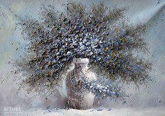 Withered, Art Painting / Oil Painting For Sale - Arteet™ (arteetgallery) Tags: arteet oil paintings canvas art artwork fine arts white blue background nature color isolated bright plant season flower decoration macro beautiful flora pot vase flowers plants decorative grey paint