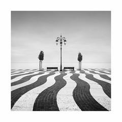 Insieme (Rohan Reilly Photography) Tags: waves wave promenade dusk square minimal landscape monochrome blackandwhite