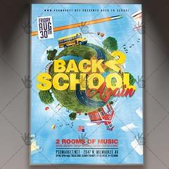 Back to School Again - Premium Flyer PSD Template (psdmarket) Tags: backtoschool back2school blackboard books celebration chalkboard classrooms college elementaryschool event fest festival school