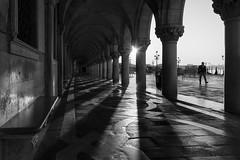 Am Markusplatz 10 (digital_underground) Tags: italy venice sun sanmarco canal sunrise blackwhite men figure shadows