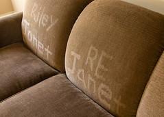 Graffiti (tarboxje) Tags: sofa names graffiti sidelight