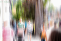 The Dimming (Illusion of Life) (13skies) Tags: hss dimming slider slidersunday movement effect blur photoshop elements processing sony people stroll walking together couple crowd
