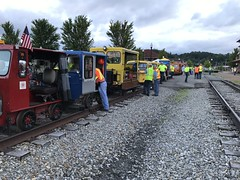 Lineup at Elkins WV (primemover88) Tags: speeder railcar excursion narcoa elkins wv west virginia durbin greenbrier valley railroad
