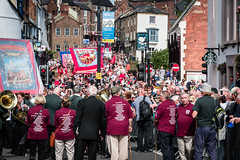 Marching through Durham (Cerdic Elesing) Tags: groupofpeople banner countydurham crowd durham durhamminersassociation england gala kodakektar minersgala object street xequals unitedkingdom