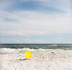 Place in the Sun (marysmyth(NOLA13) ️) Tags: 503cxi alabama beach chair film gulfshores hasselblad kodakektar100 mediumformat sand seagull summer vacation water yellow