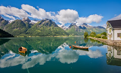 ~۰Like a Dream۰~ 2017 Version (Ranveig Marie Photography) Tags: hjelle norge norway norwegen stryn oppstryn oppstrynsvatnet strynevatnet hjellehotel sognogfjordane nordfjord boats reflection lake water pano panorama explore explored