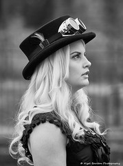 Steampunk a profile (nigelboulton72) Tags: steampunk girl pretty hat goggles blond blackandwhite beauty beautiful gaze profile side